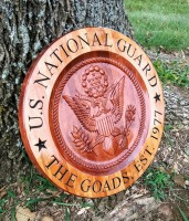 Custom Wood Sign/Personalized Wood Sign US National Guard, family name sign with 3 dimensional National Guard Logo.
