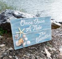 Custom wood sign, Personalized wood sign, Beach Condo sign, Vacation rental sign, beach themed with real sea shells and a distressed appearance.