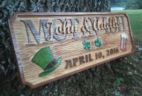 "Custom Wood Sign/Personalized Wood Sign, Irish pub style sign with 3 dimensional elements and a ""faux"" sandblasted background."