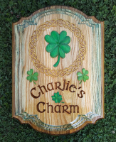 Irish Pub Custom wood sign made from pecan wood with a distressed border.
